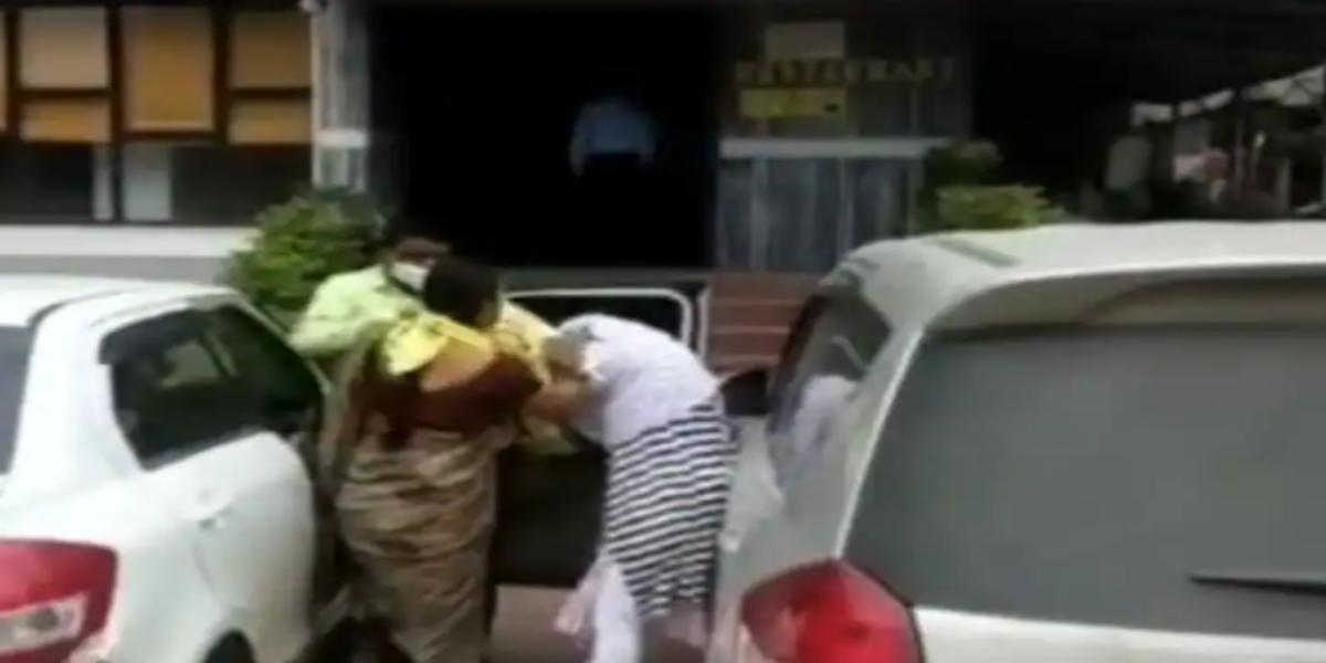 Woman catches husband