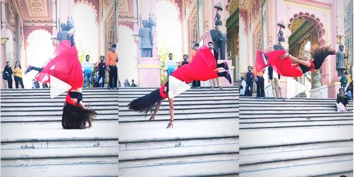 Girl performs amazing backflip