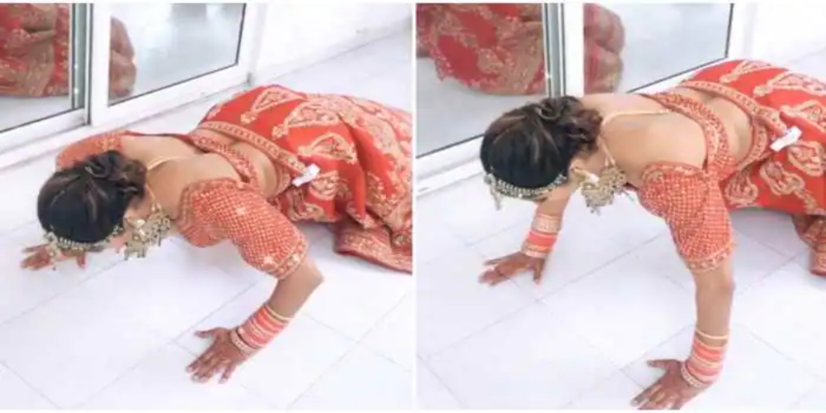Women does push-ups