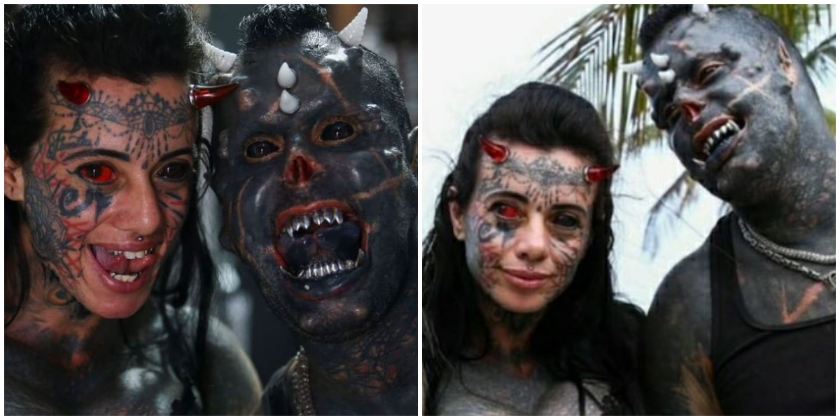 Brazilian couple turns themselves into demon and devil