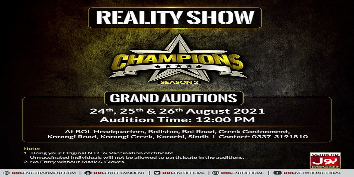 BOL Entertainment: Grand auditions for Champions to be held at BOL Headquarters