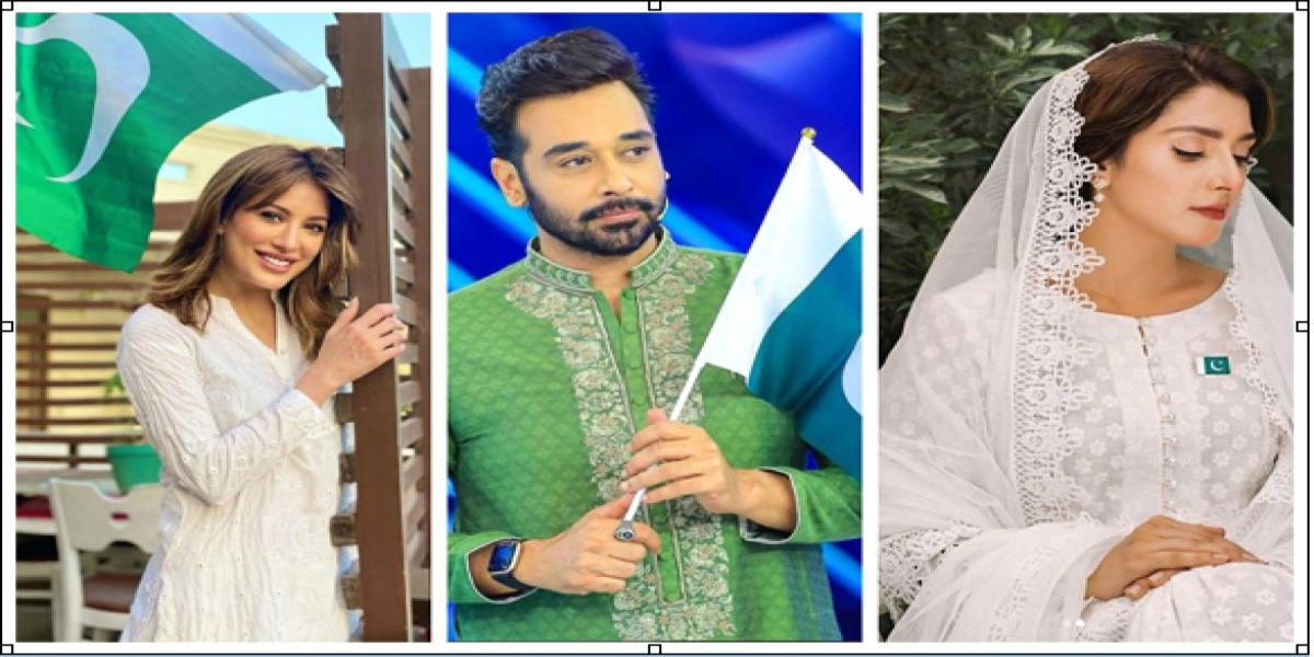 Showbiz stars are celebrating Independence Day with great enthusiasm
