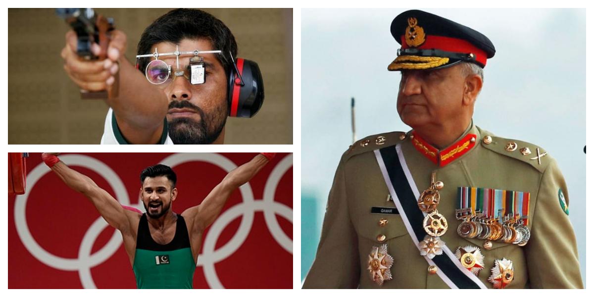 COAS Gen Bajwa meets Arshad Nadeem, Talha Talib and other Olympians