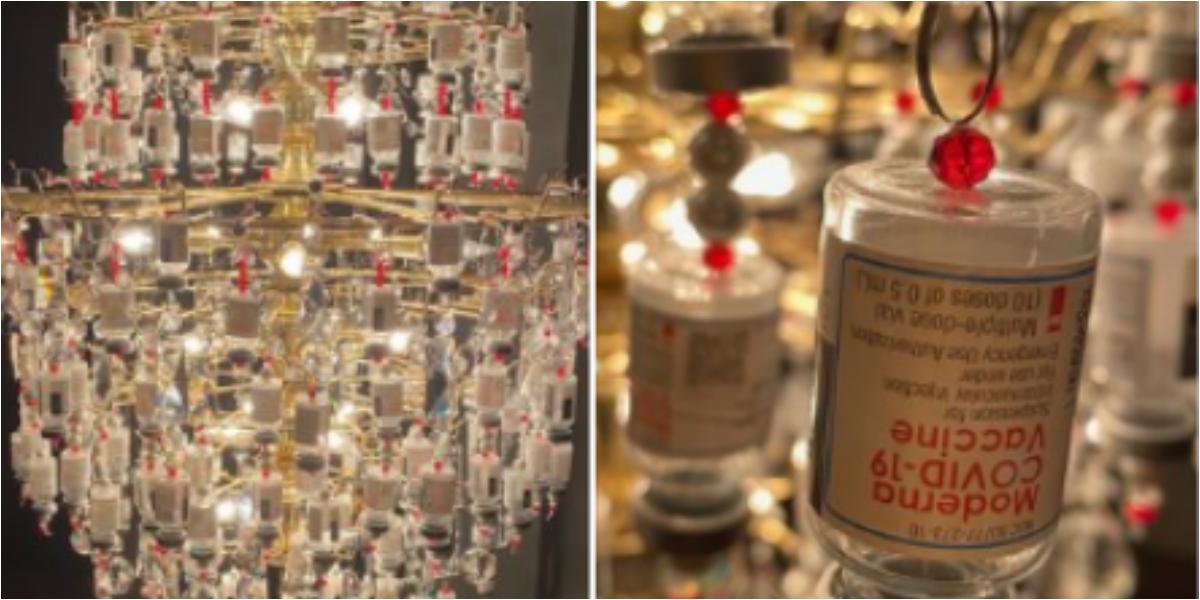 Covid-19 vaccine vials chandelier