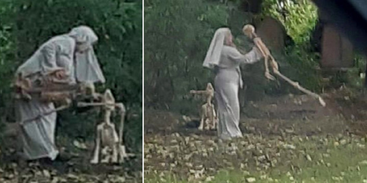 Next to the graveyard, a 'nun' was spotted dancing with a skeleton