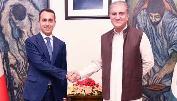 Italian Foreign Minister Luigi Di Maio with Foreign Minister Shah Mahmood Qureshi