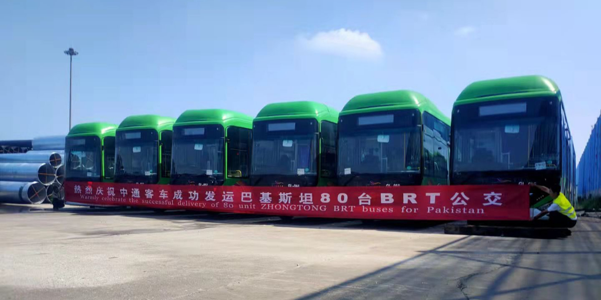 Chinese vessel carrying first lot of 42Green Line buses docks at Karachi port