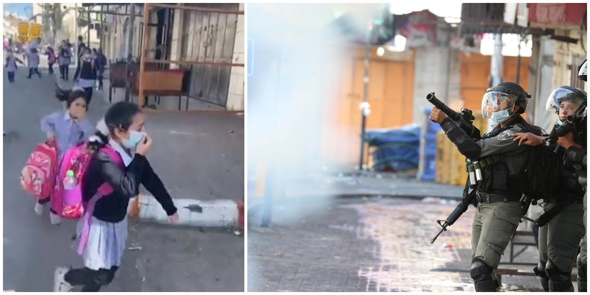 Israel's Barbarism at its peak, fire tear gas on Palestinian primary school students