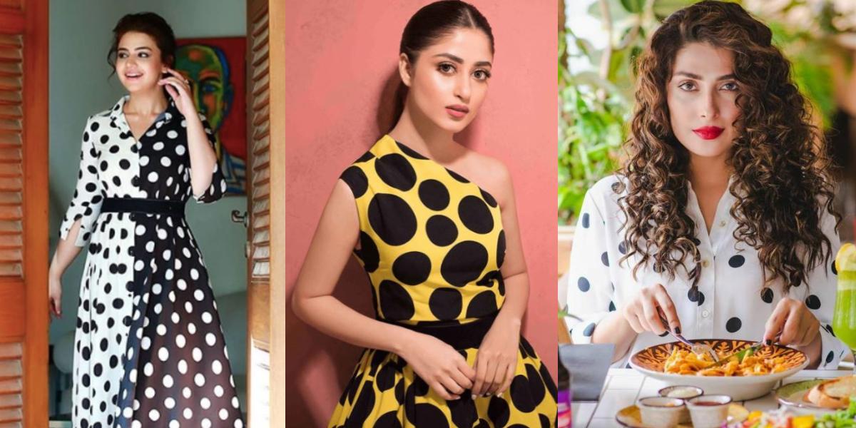Pakistani actresses wearing polka dots