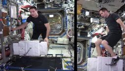 Astronaut uploads workout video from International Space Station