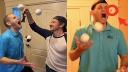 Guy from Idaho catches 35 grapes in his mouth while juggling
