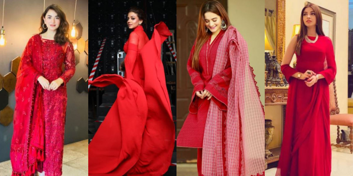 Pakistani actresses red attires