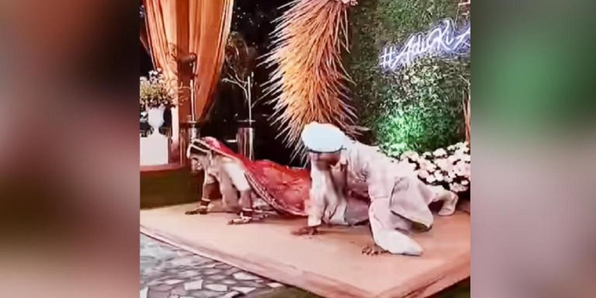 Watch video: The bride and groom do push-ups onstage