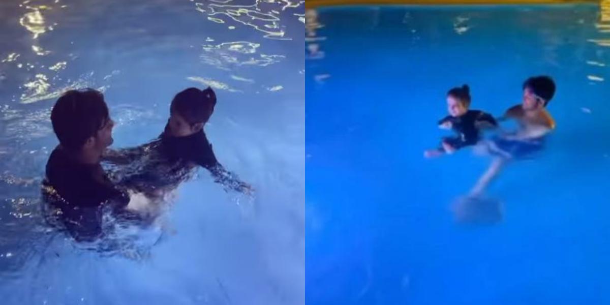 Amal Muneeb swimming