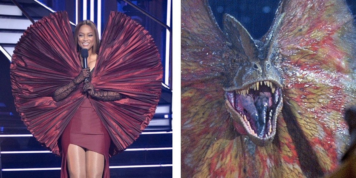 Tyra Banks' viral outfit is humorously mocked by Jurassic World