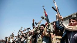 Tribesmen loyal to Houthi rebels, hold their weapons as they chant slogans during a gathering aimed in Sanaa, Yemen.