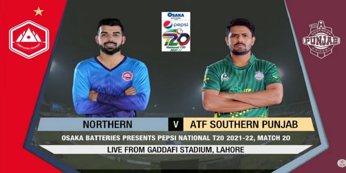 National T20 Cup: Northern vs Southern Punjab   Match 20   Live score