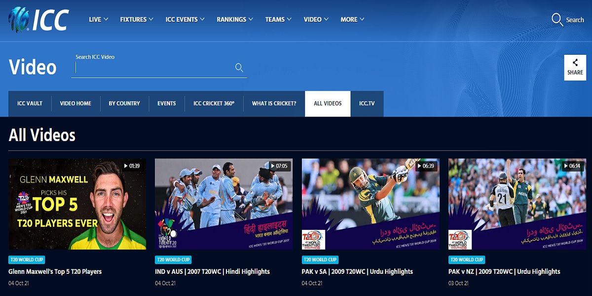 ICC adds match highlights in Urdu on its official website