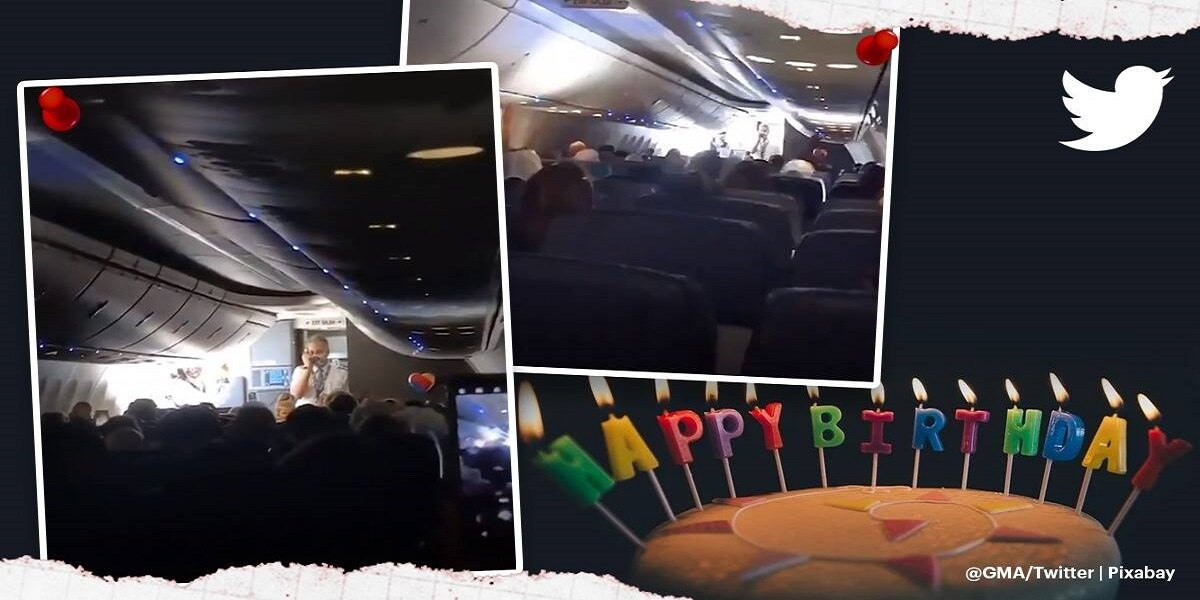 """Passengers and airline crew sing """"Happy Birthday"""" to twin girls on board"""
