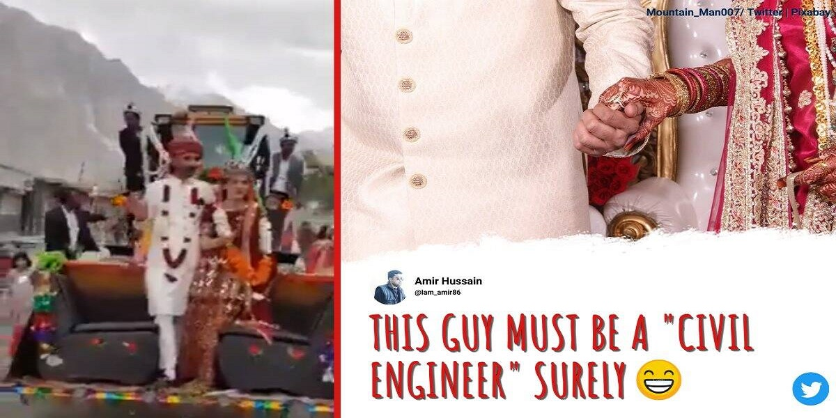Viral video: Newlyweds ride an excavator in the village